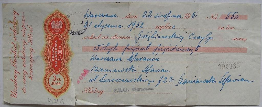 WEKSEL OPŁATA SKARBOWA 3 ZŁ 30 GR WARSZAWA 1951