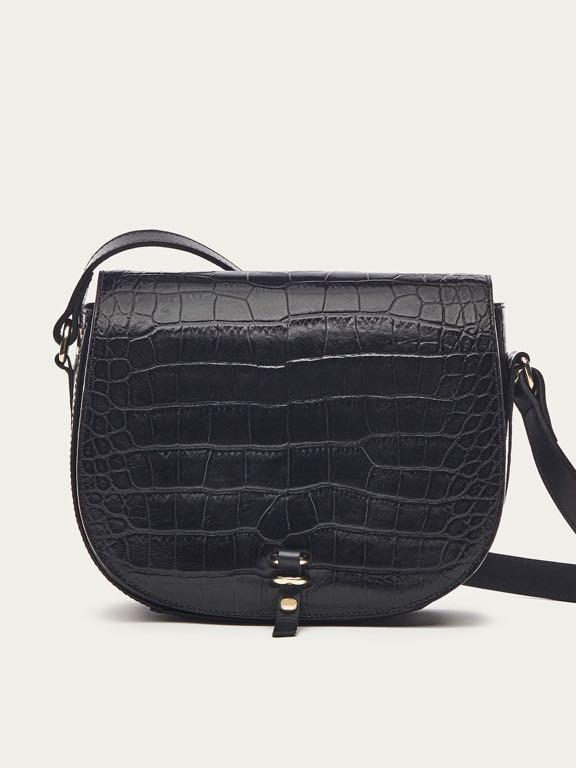 Massimo Dutti torebka czarna skórzana