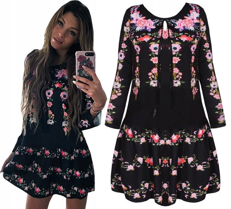 Sukienka Rozkloszowana Kwiaty Folk Boho M922 7017253161 Oficjalne Archiwum Allegro