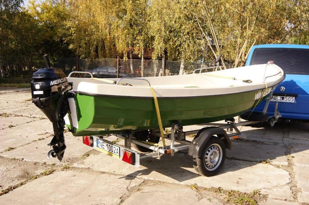 łódź wędkarska + silnik mercury 8hp + przyczepa