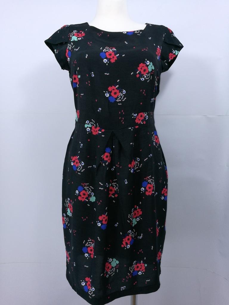 F&F czarna sukienka w kwiaty z zamkiem ZIP 42 7319995739
