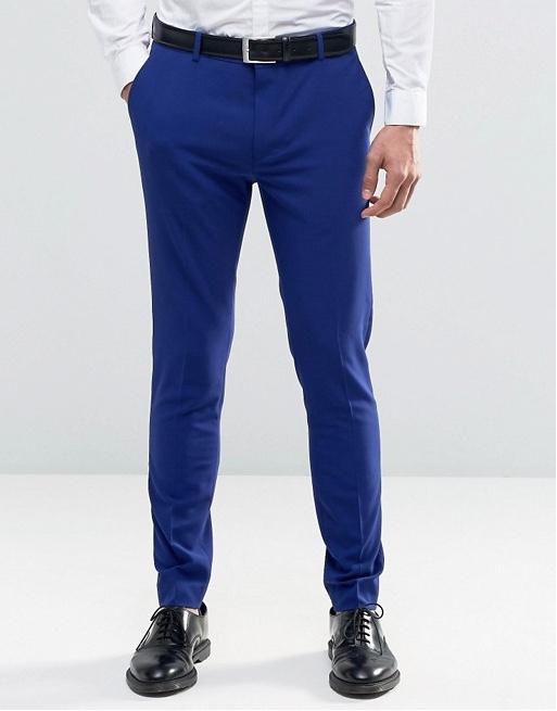 spodnie slim eleganckie garnitur niebieskie 36 32