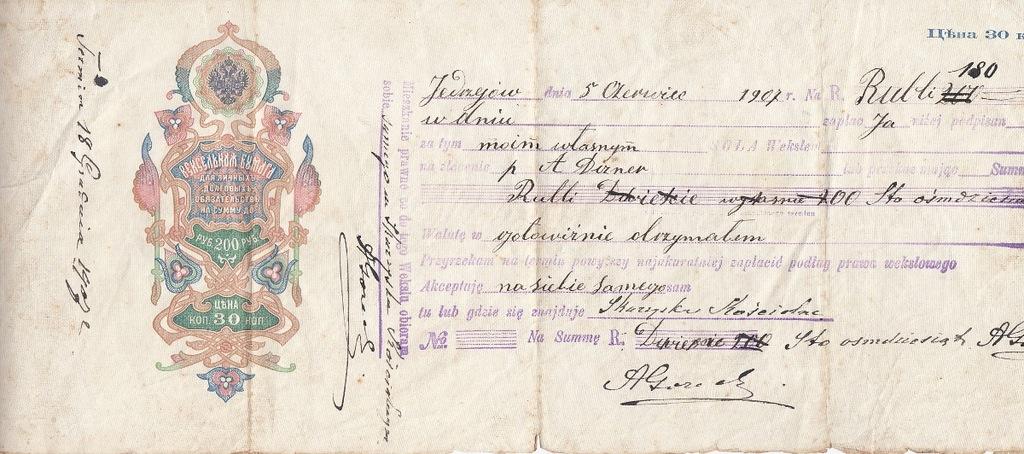 Jędrzejów 1907 Weksel carski po polsku