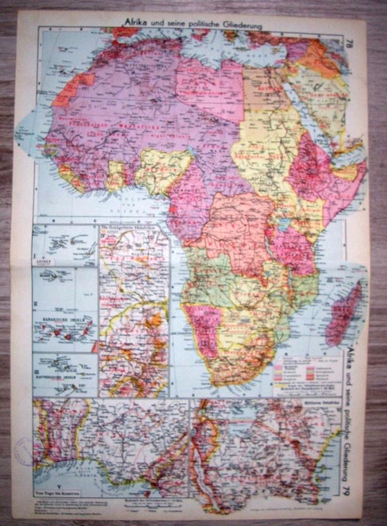 AFRYKA MAPA POLITYCZNA. Mapa. 1937.