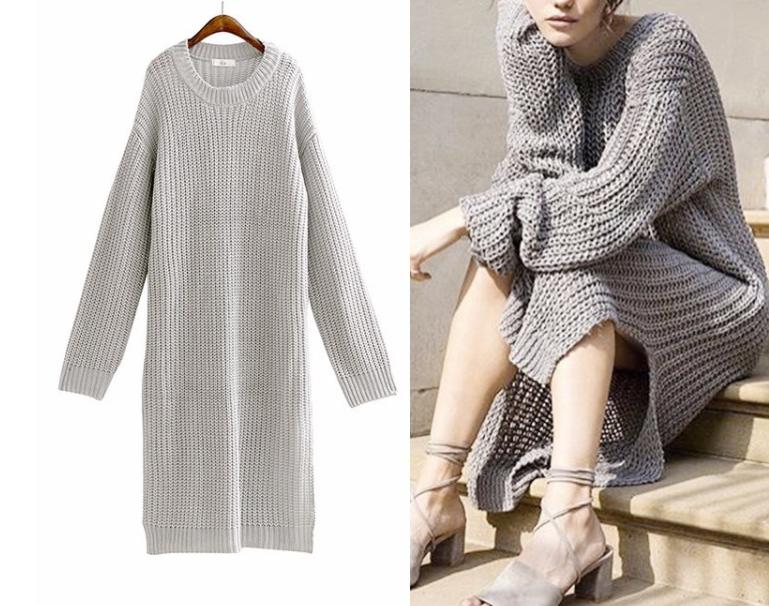 długi sweter z grubym splotem