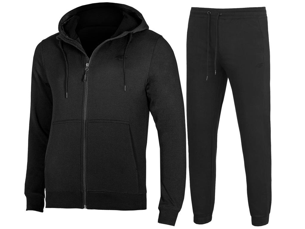 4F MĘSKIE Bluza Spodnie DRESY KOMPLET Czarne XXL