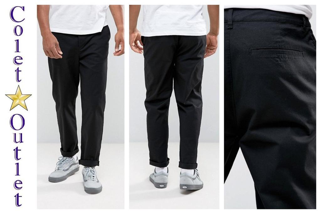 mo56 spodnie chinos czarne skater casual W38 L32