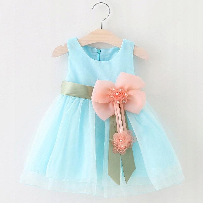 Niebieska błekitna sukienka tutu na ślub roczek 86