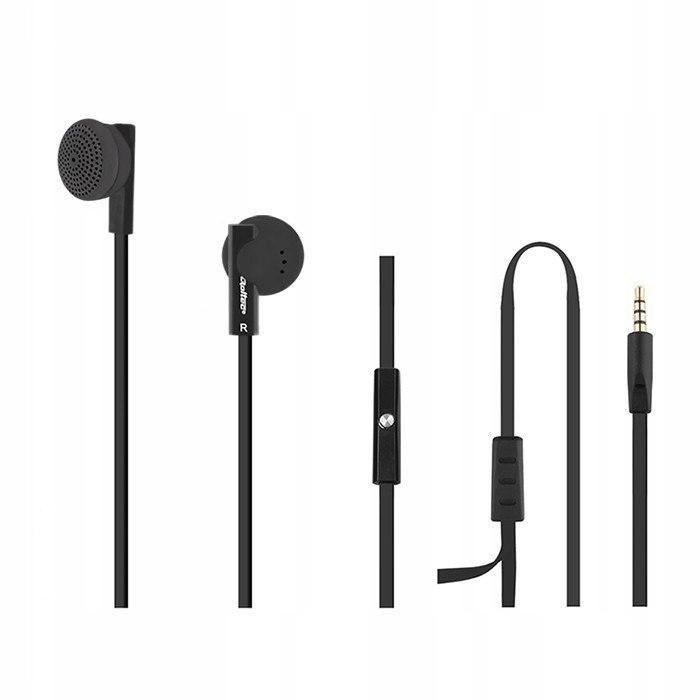 Słuchawki douszne + mikrofon, czarne,okrągłe