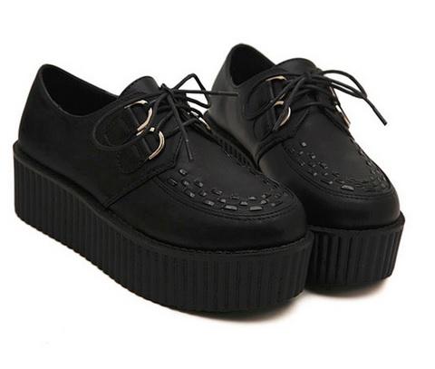 Buty creepers czarne wysoka platforma 4cm 39