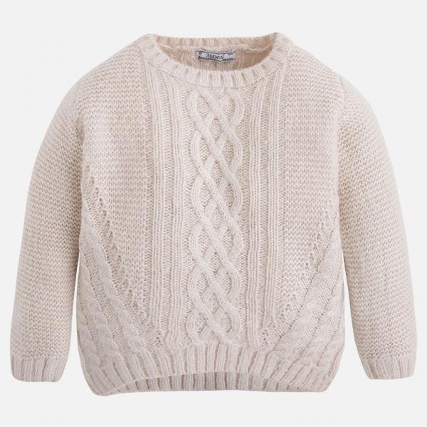-55% ciepły kremowy sweter MAYORAL pleciony 116