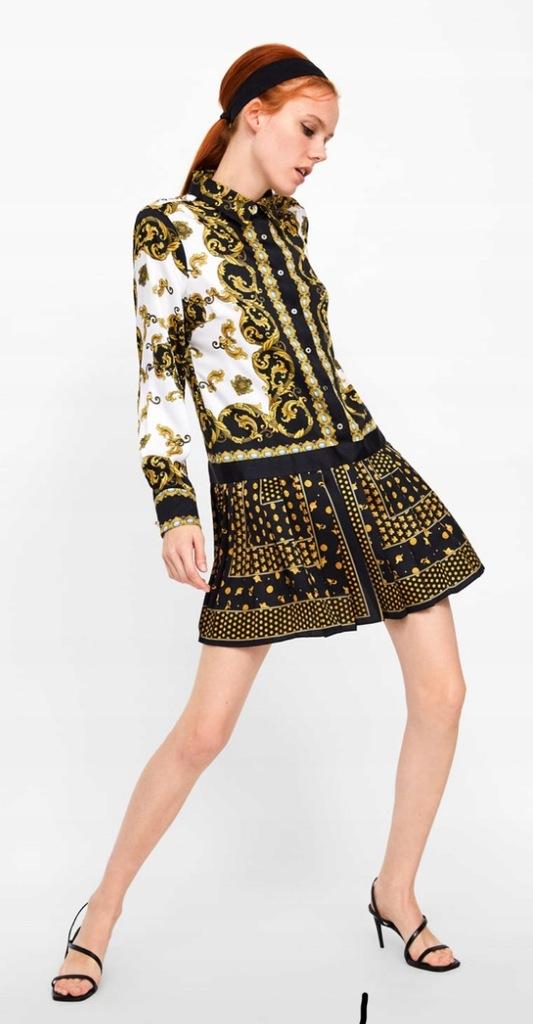 Nowa sukienka Zara łańcuchy koszula instagram 38 M