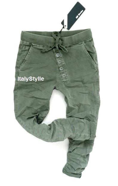 Włoskie BAGGY rurki skiny guziki dresowe khaki L
