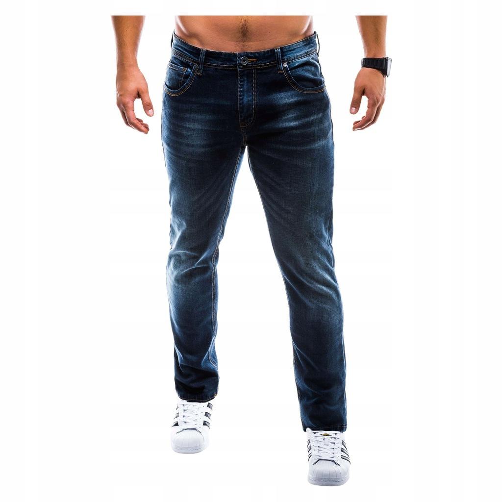 Jeansy męskie zwężane z przetarciami jeans 780P 34