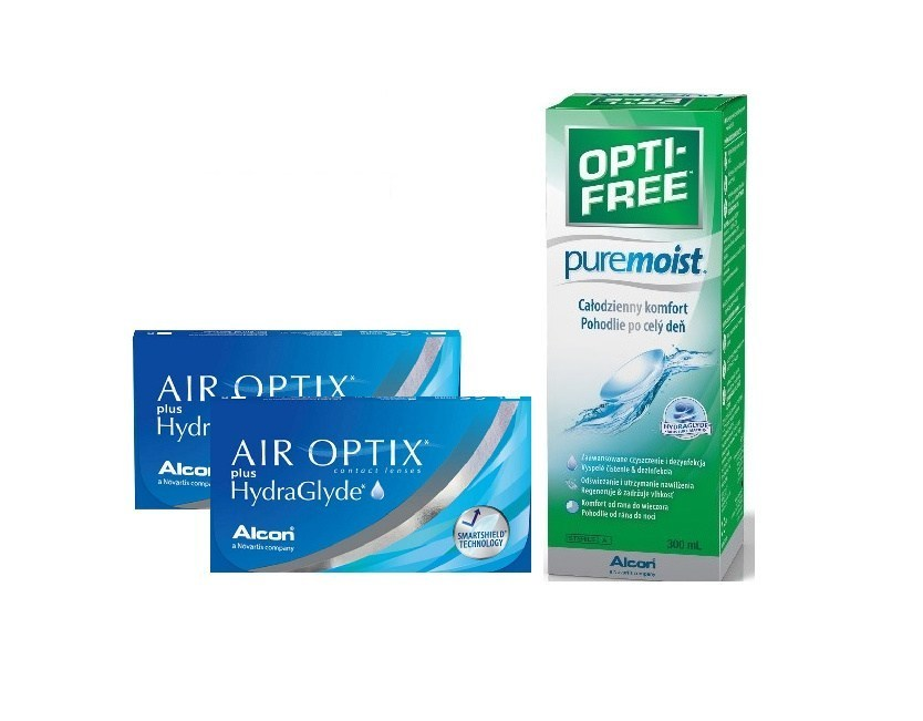 2xAIR OPTIX PLUS HYDRAGLYDE 3 szt + OPTI-FREE300ml