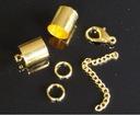 3 Komplety zapięć do lnu, rzemieni złote  2 mm