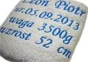 Ręcznik 70x140 z haftem, prezent dla noworodka