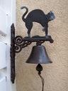 Dzwonek żeliwny czarny Kot  45 x 25 cm