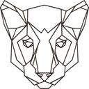 Naklejka na ścianę lwica poligonal wielokąty 50 cm