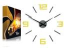 Zegar ścienny Silver szaro - żółty Obraz Nowość Zasilanie bateryjne