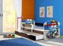 Łóżko dziecięce 140x70 szuflada materac WENGE ACMA Długość 144 cm