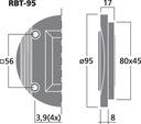głośnik wstęgowy RBT-95 30 W 8 Ohm IMG STAGE LINE Konstrukcja jednodrożne