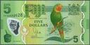 Fidżi - 5 dolarów 2013 nowa seria * papuga polimer
