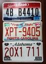 Idaho, North Carolina, Alabama  - tablice USA