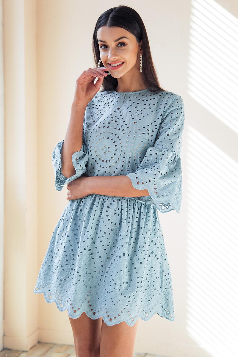 fa0c6c2e44 Piękna sukienka na lato rozkloszowana ażurowa idealna na wesele S ...