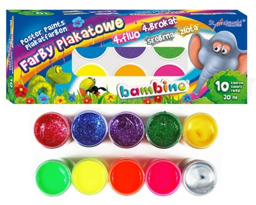 Bambino Farby Plakatowe 10 Kol 20 Ml Fluo Brokat 5464141882