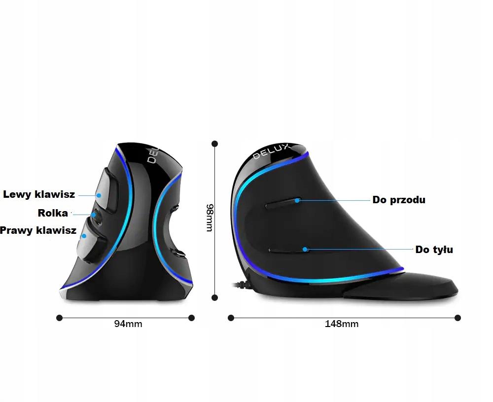 Mysz DELUX M618 Plus BLUE Przewodowa Pionowa Myszka