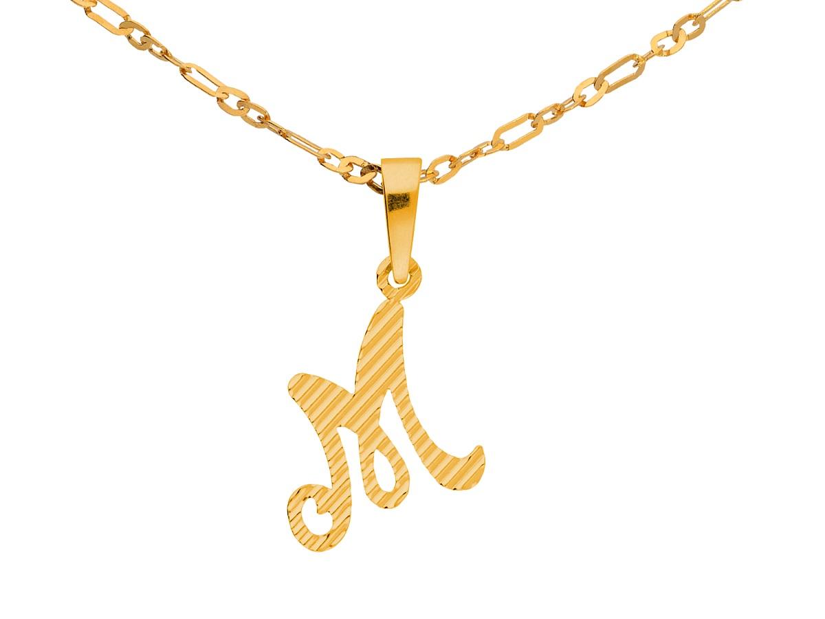 Naszyjnik łańcuszek Srebrny Złoto Litera M Alfabet 7415269438