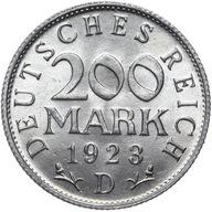 Niemcy - 200 Marek 1923 D - MENNICZA Z ROLKI