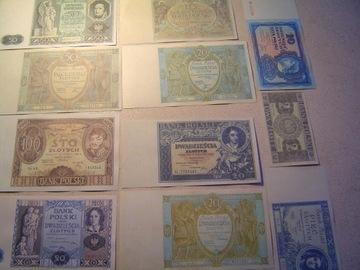 POLSKA MIĘDZYWOJENNA zestaw 11 szt.banknotów доставка товаров из Польши и Allegro на русском