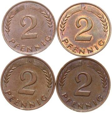 КОМПЛЕКТ - Германия-ФРГ - 4 x 2 Pfennig 1958 D F G J доставка товаров из Польши и Allegro на русском