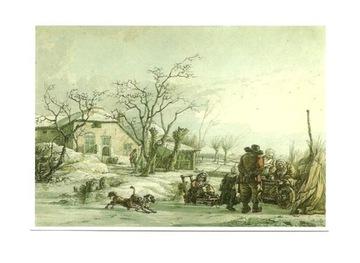 Открытка - Зимний пейзаж - жанровая сцена / собака