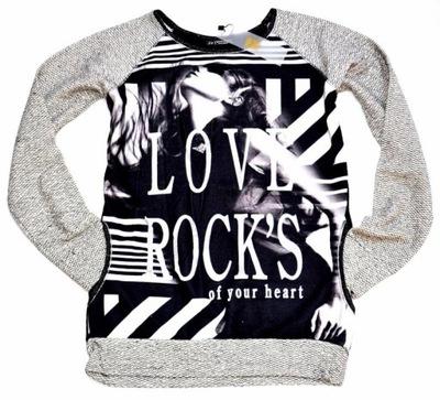 Stylowa dzianinowa bluza  H&B  nadruk oversize