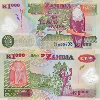 ~ Замбия 1000 Квач 2006 P-44e ПОЛИМЕР UNC супер