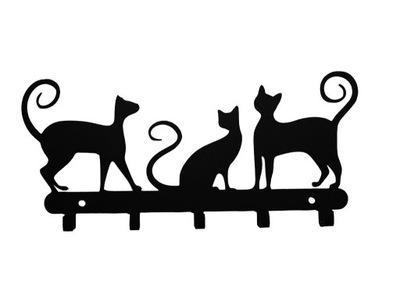 вешалка ключи ювелирные изделия три кошки цвета сталь