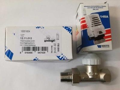 Priamy termostatický ventil + chladič hlavy WATTS