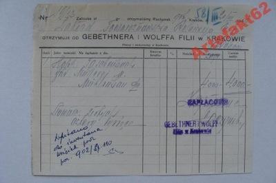 KRAKÓW WYDAWNICTWO GEBETHNER I WOLFF RACHUNEK 1949