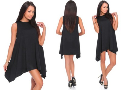 ASYMETRYCZNA sukienka TUNIKA glamur __ S / 36