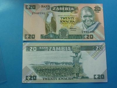 Замбия Банкнота 20 Квача 1980-88 P-27e UNC