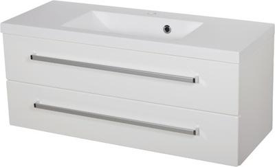 ФОКУС мебель для ванной комнаты белая тумба + умывальник 100