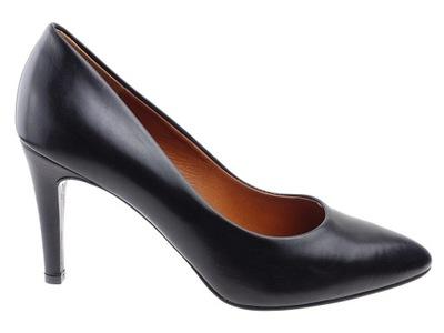 cbcd0512 Ryłko czarne czółenka buty skórzane na słupku 39 - 6239204758 ...