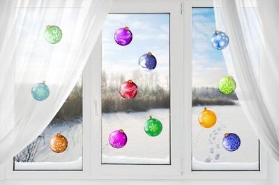 наклейки Рождественские шарики украшения 12шт. x 15cm S .