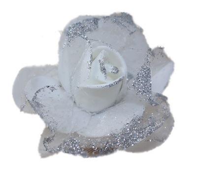 -MARGUT- Spinka ozdobna róża kwiat biała
