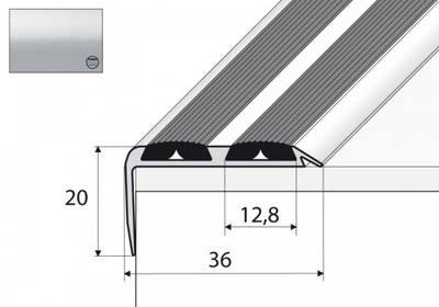 A37N Планка лестница не скользит 90см серебро