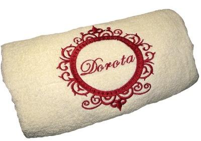 Plážová osuška, osuška - elegancki duży ręcznik kąpielowy z imieniem HAFTEM