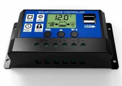 Regulátor nabíjania 30A 12V 24V PWM solárne LCD USB